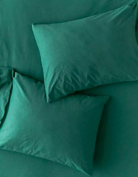 A flatlay of the soft jersey pillow shams