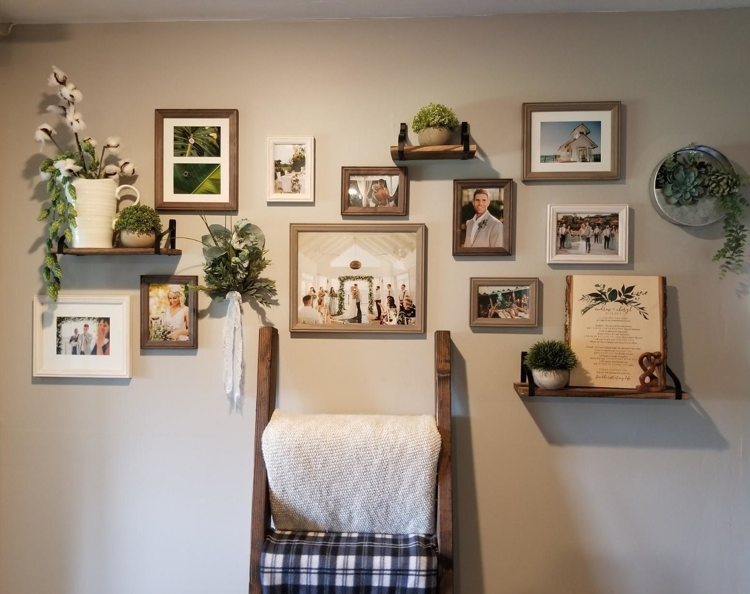 reviewer image of the multi/gray gallery set hanging from their wall along with small display shelves