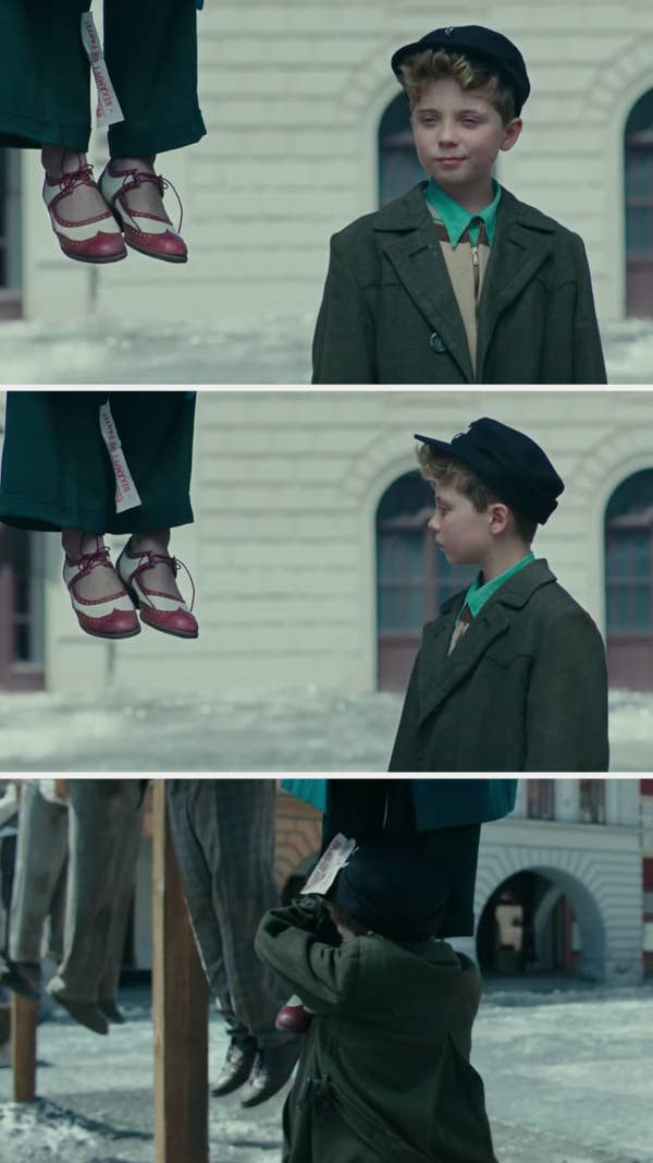 Jojo watches the butterfly fly away, then sees and hugs his mother's shoes