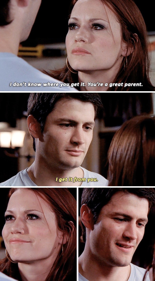 Nathan telling Haley he learned how to be a good parent from her