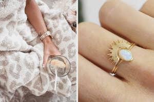 left image: barefoot dreams blanket, right image: sunburst opal ring set