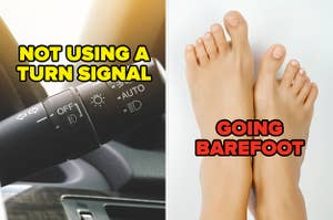 """""""not using a turn signal"""" over a blinker, and """"going barefoot"""" over bare feet"""