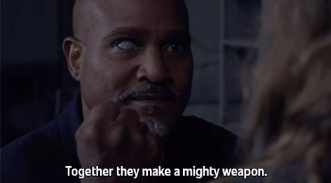 """Man saying """"together they make a mighty weapon"""""""