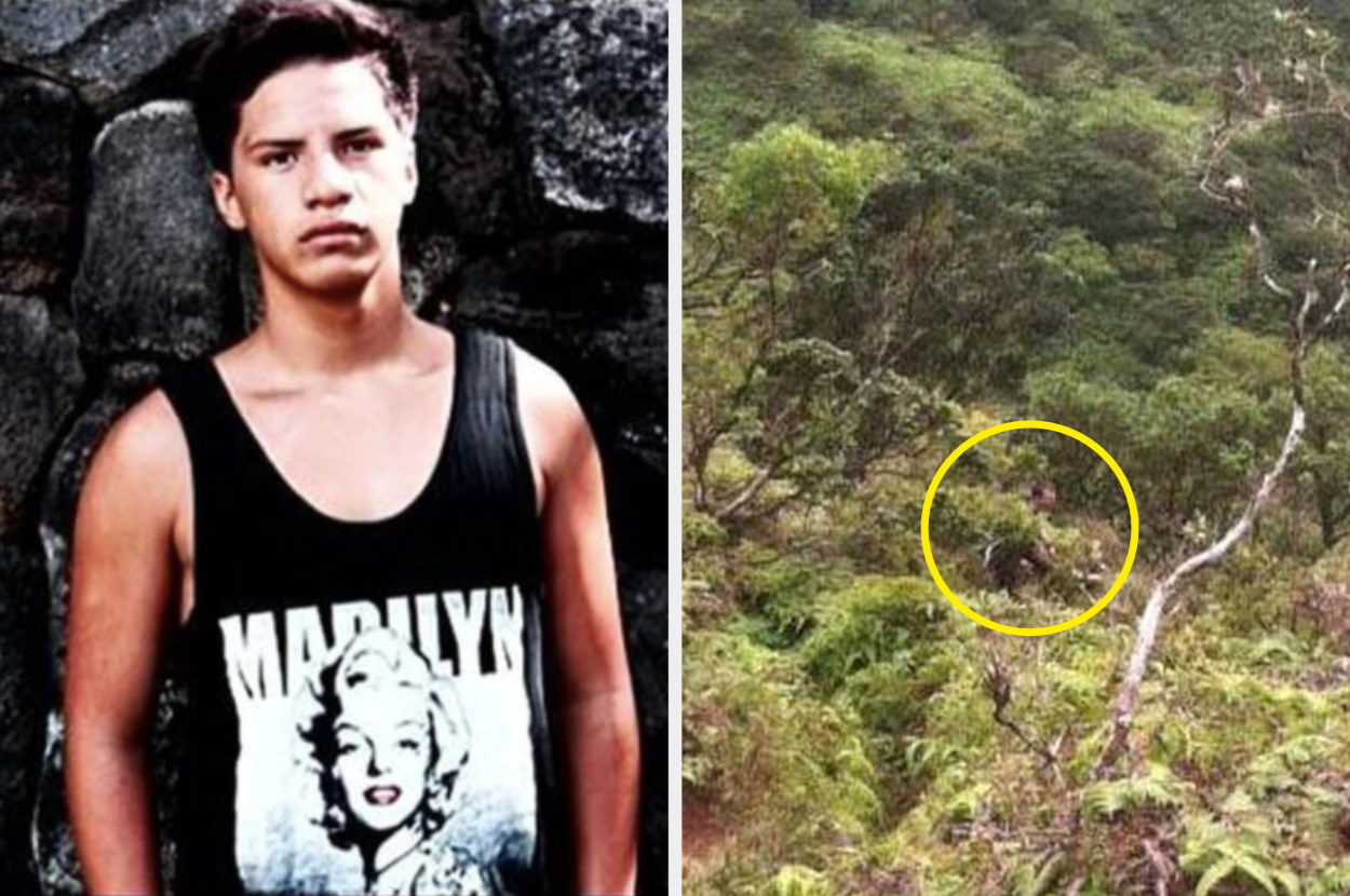 Missing Hawaiian teen posing in front of rocks; a man hiding in the bushes