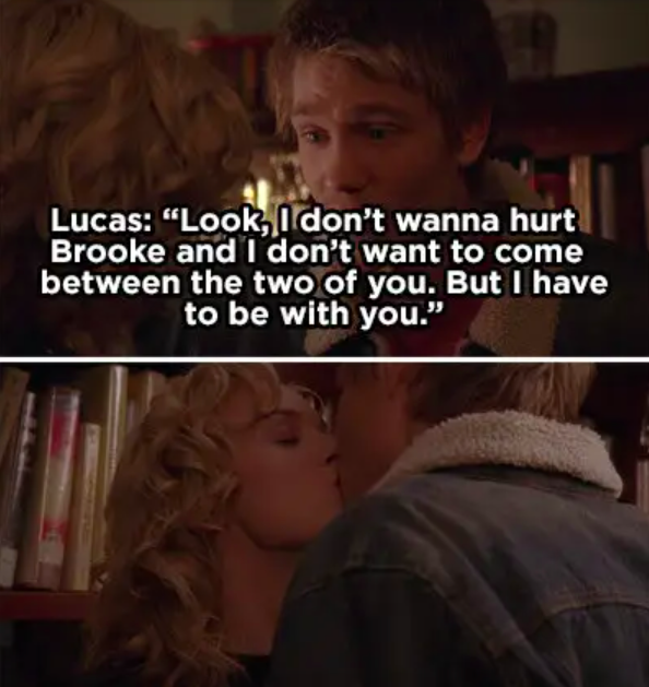 Lucas says he doesn't want to hurt Brooke but he needs to be with Peyton, kisses Peyton