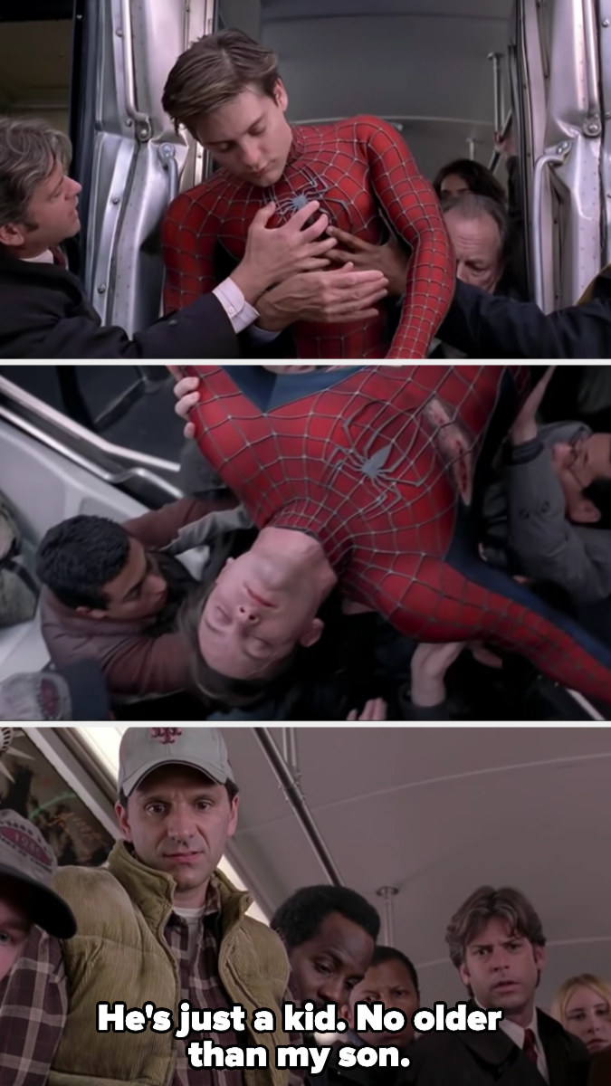 """A passenger marvels at Spider-Man: """"he's just a kid, no older than my son"""""""