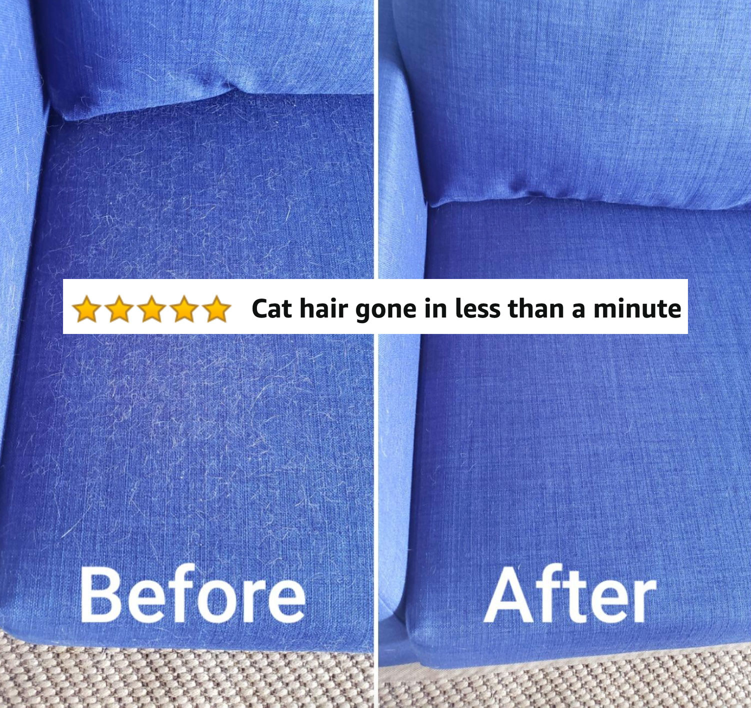 before/after image of hair on couch and after image with nothing on it
