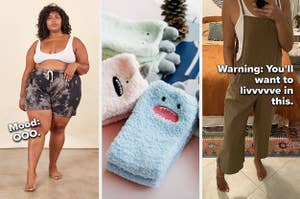 three photos from left to right are a plus-size model wearing tie-dye shorts and a crop top, fuzzy socks with a monster face on each ankle plus ears springing from the ankle, and a reviewer wearing a jumpsuit