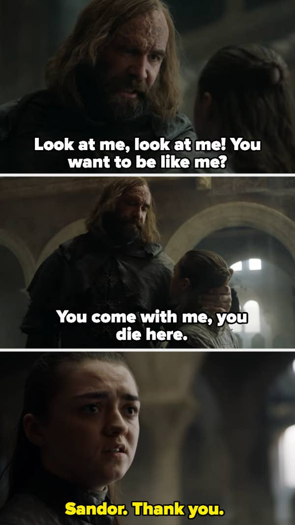 Arya thanks Sandor for not letting her die