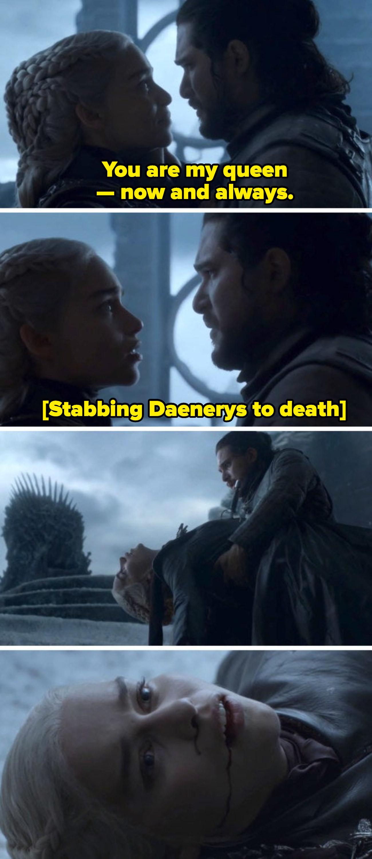 "Jon Snow killingDaenerys in the last season of ""Game of Thrones"""