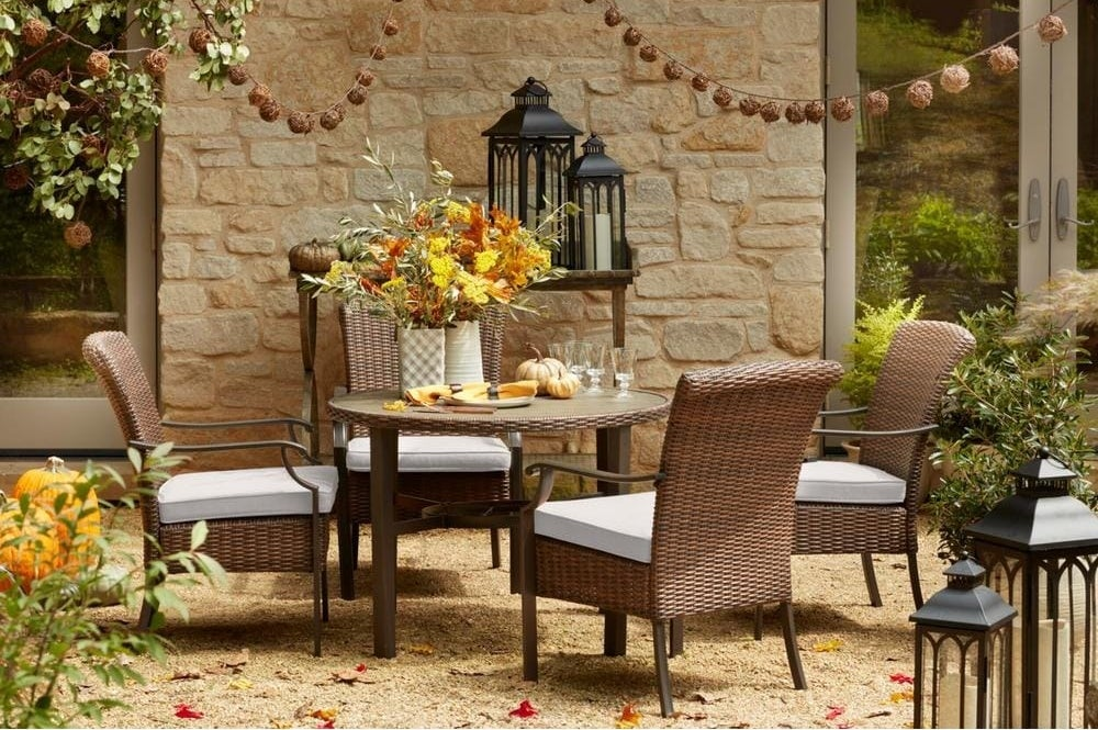 The steel and wicker patio set
