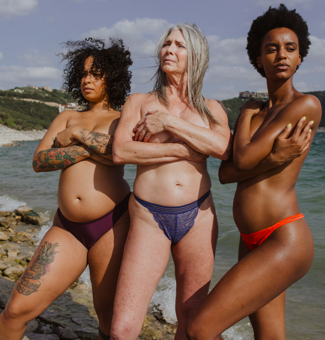 Three models, each one wearing a different style of the underwear