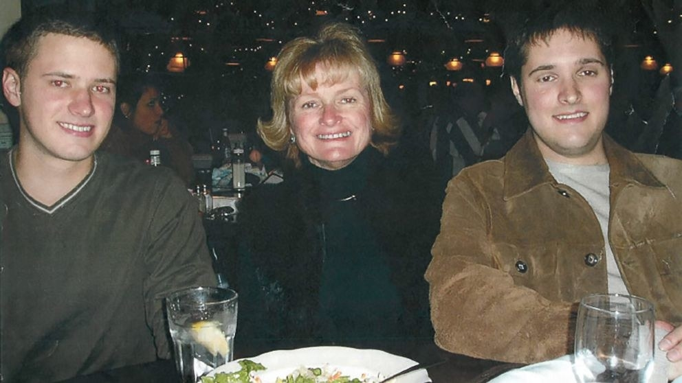 Bart Whitaker, right, with his mother, Trisha, and brother, Kevin, at his graduation celebration dinner