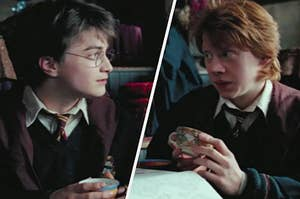 Harry Potter and Ron Weasley look at each other while clutching tea cups.