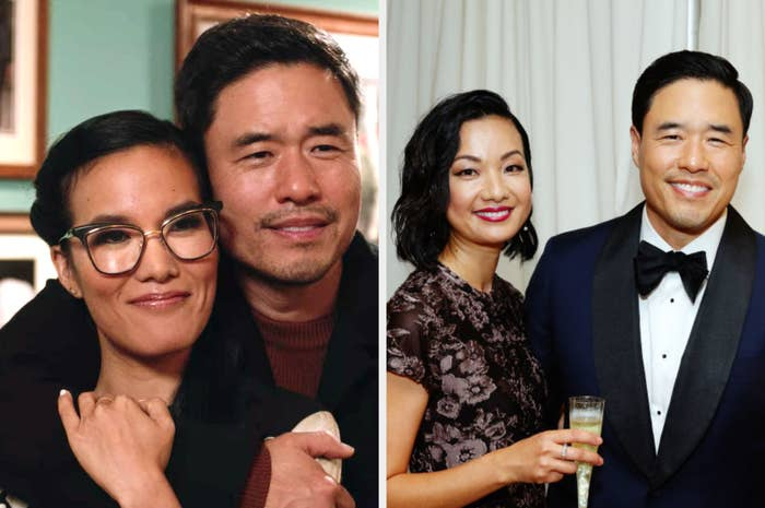 On the left, Randall Park is in character with his co-star Ali Wong. On the right, Park is with his wife Jae Suh Park