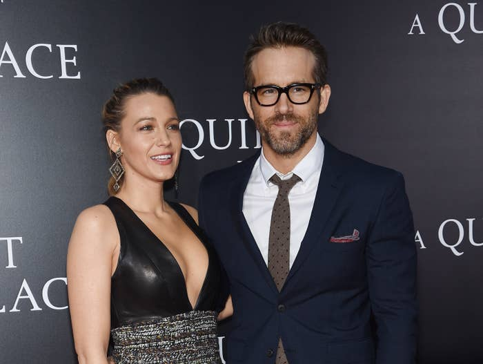 Blake Lively and Ryan Reynolds are photographed together at a movie premiere