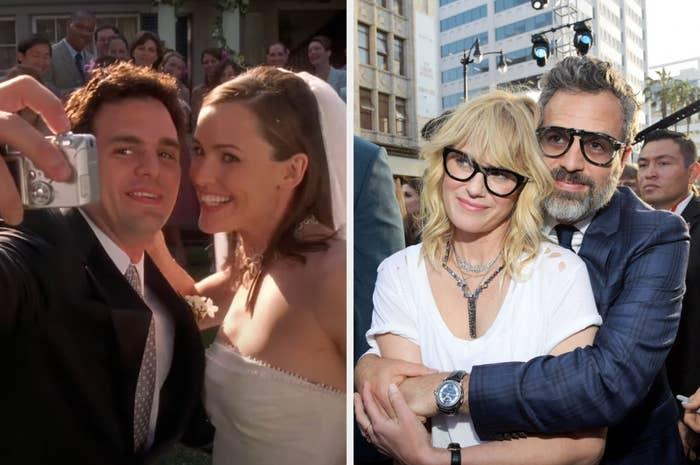 Mark Ruffalo is in character on the left taking a selfie on his wedding day. On the right, Ruffalo is hugging his wife