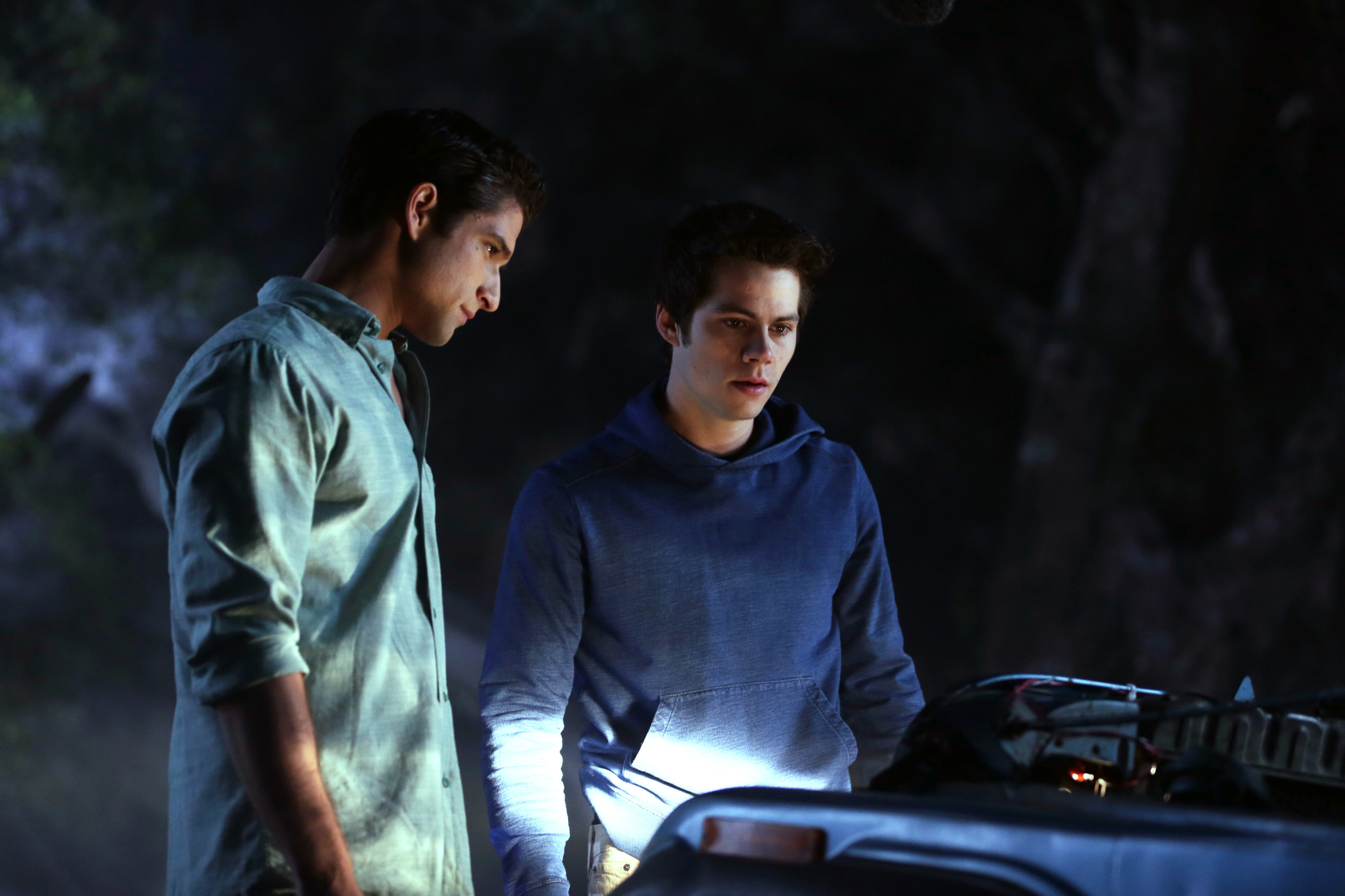 tyler pose as scott mcall and dylan o brien as stiles in the series teen wolf