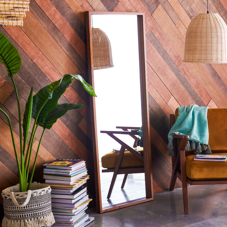 Rectangle mirror in boho bedroom