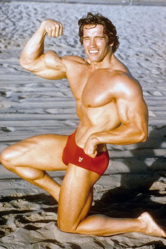 In a classic bodybuilder pose