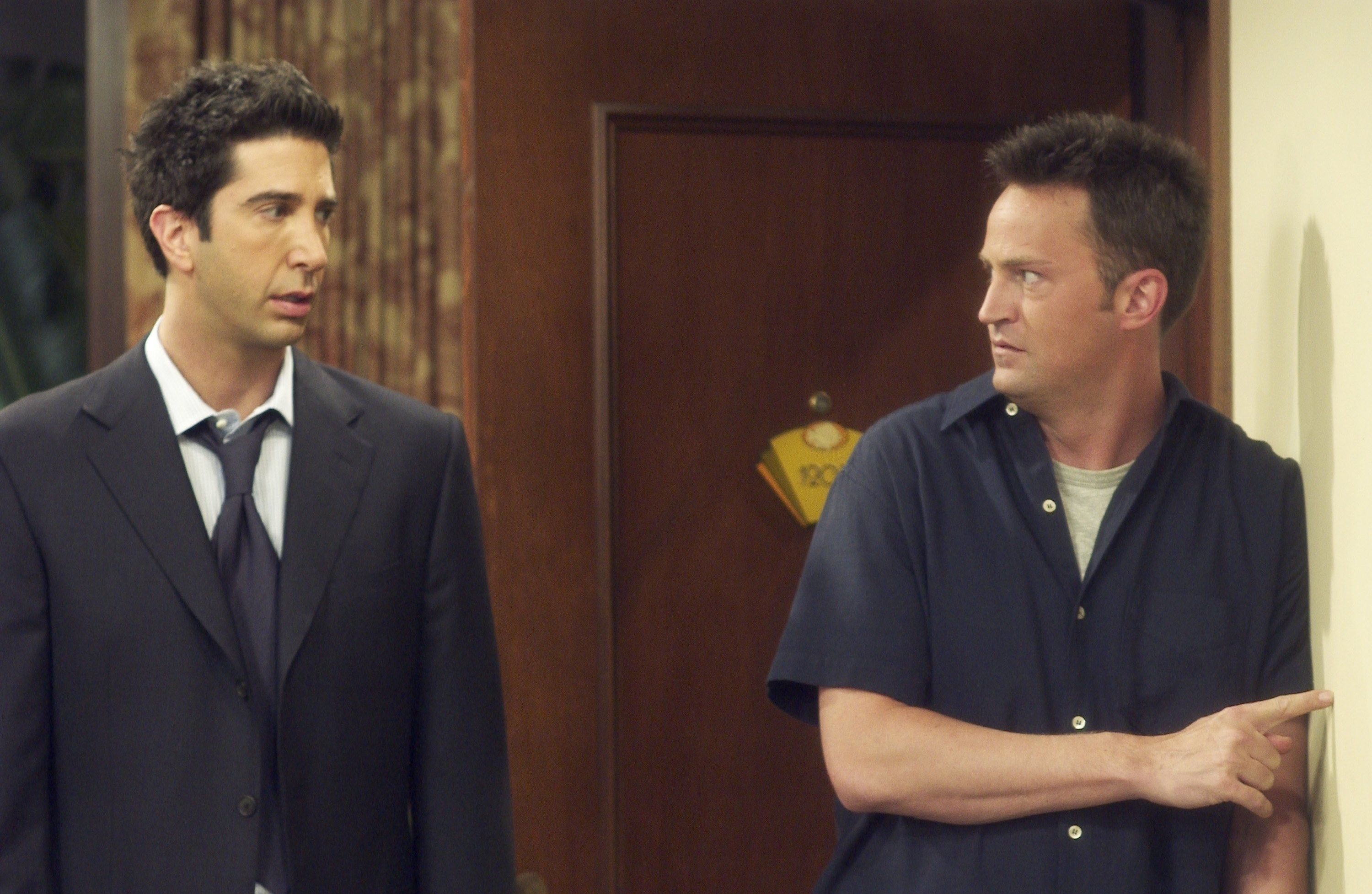 Ross looks upset while looking at Chandler