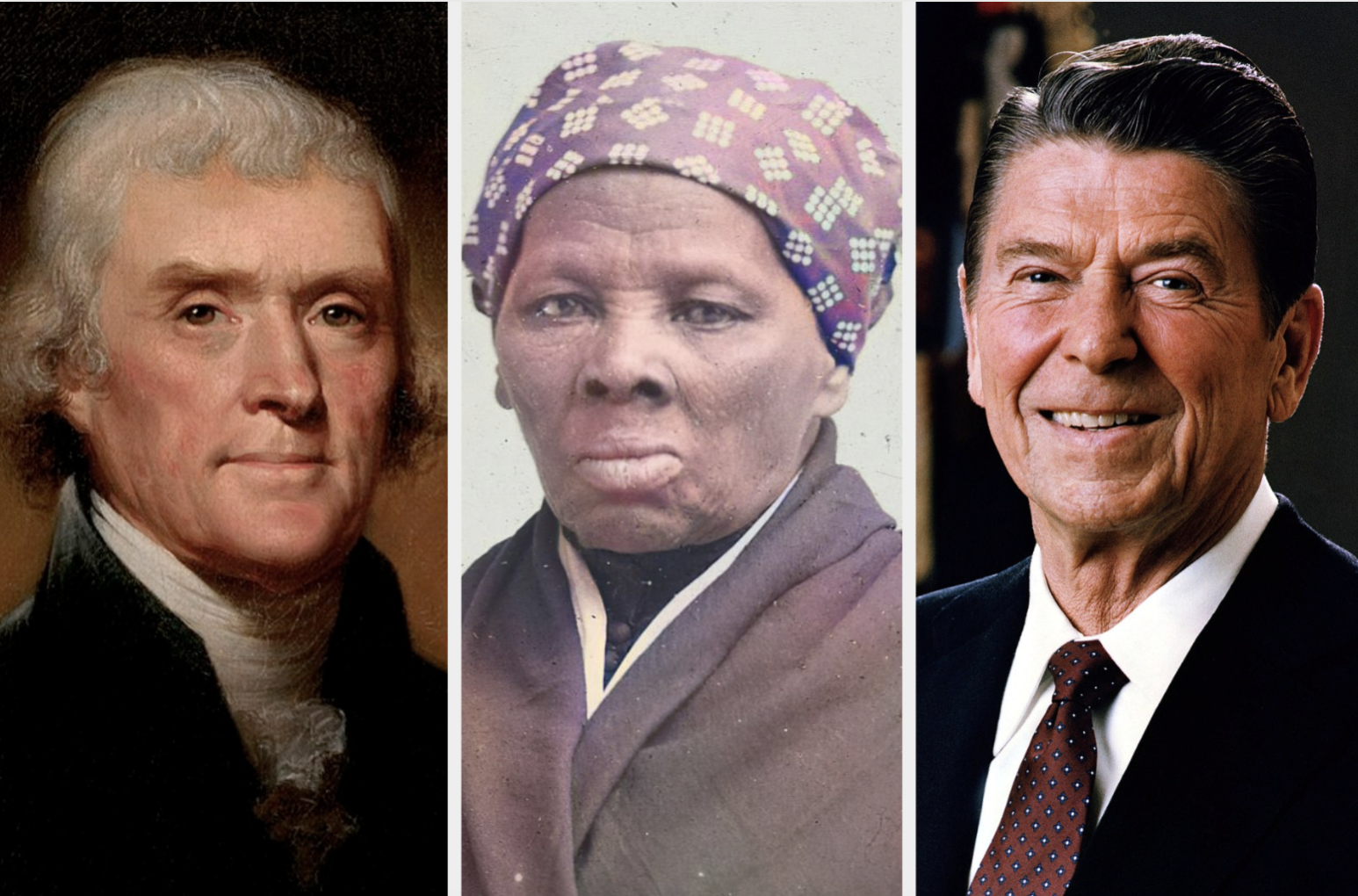 Images of Jefferson, Tubman, and Reagan