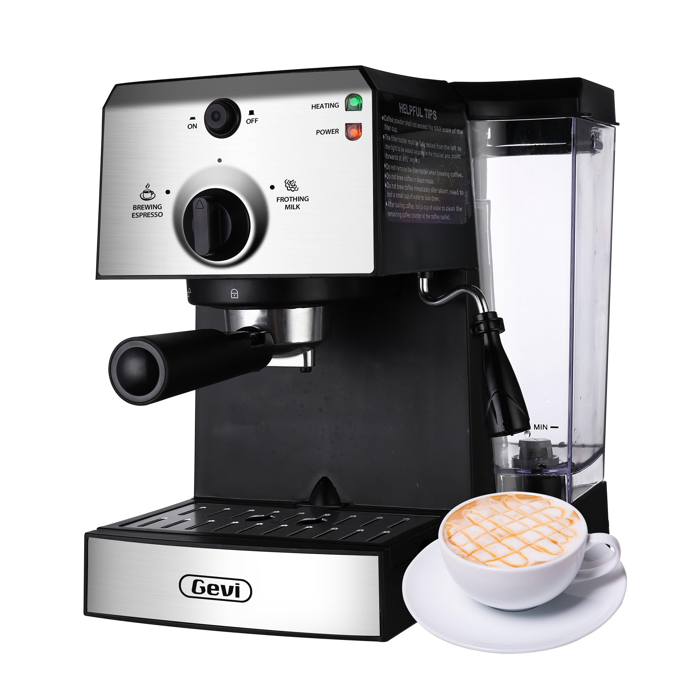 Silver and black Gevi espresso maker