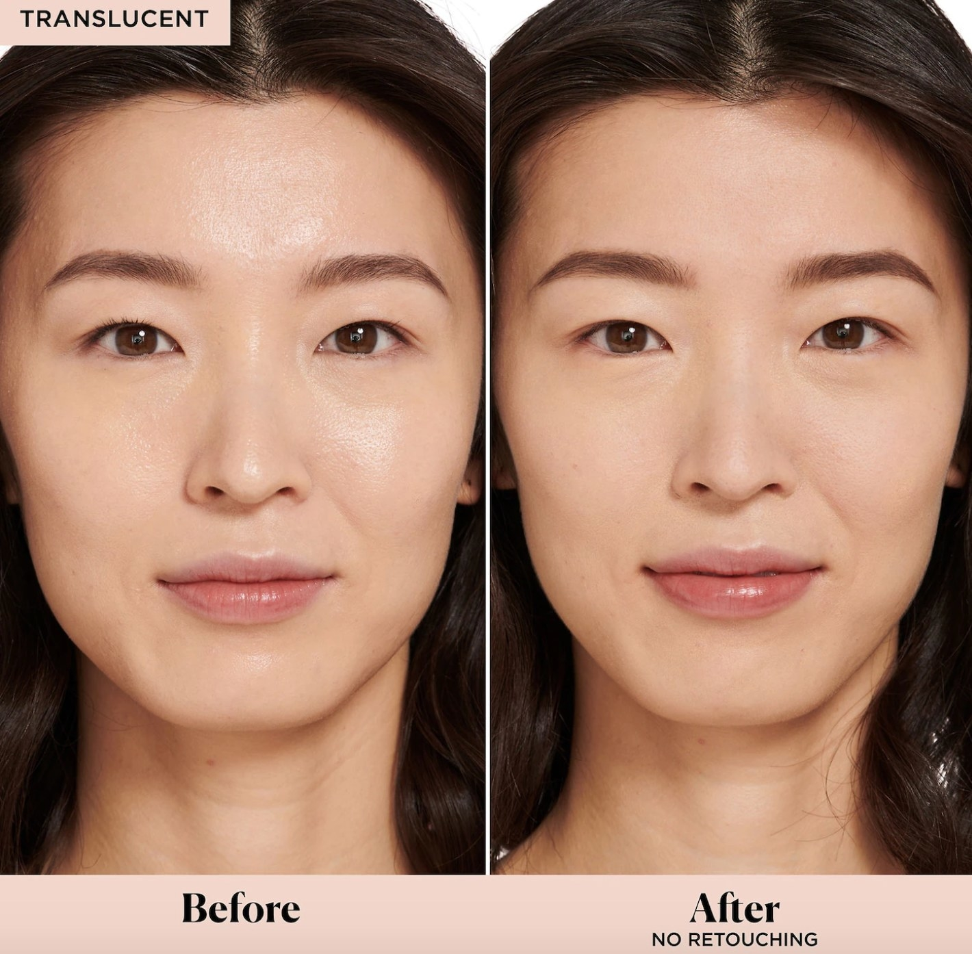 Before and after of model wearing Laura Mercier settting powder