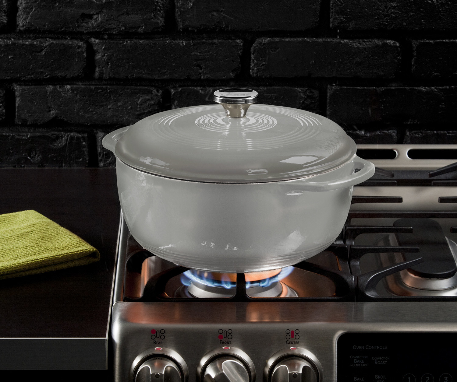 Silver dutch oven on stove