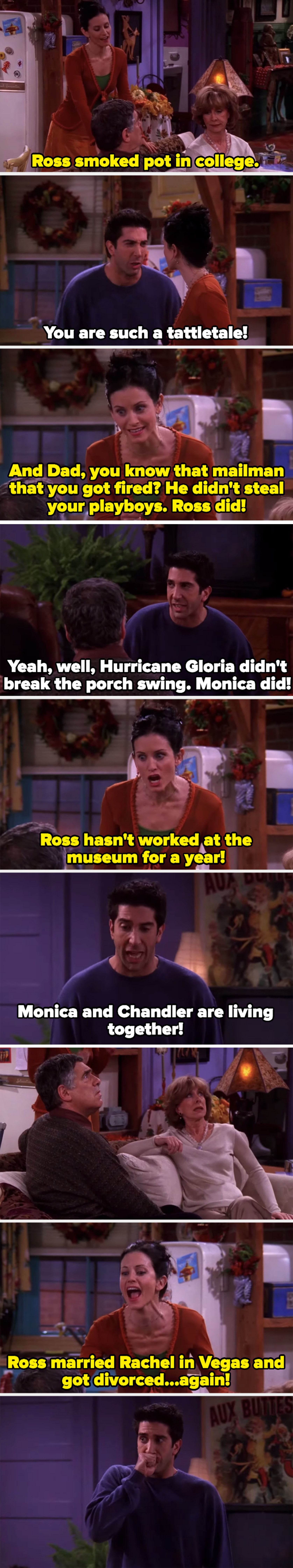 Monica and Ross telling on each other to their parents