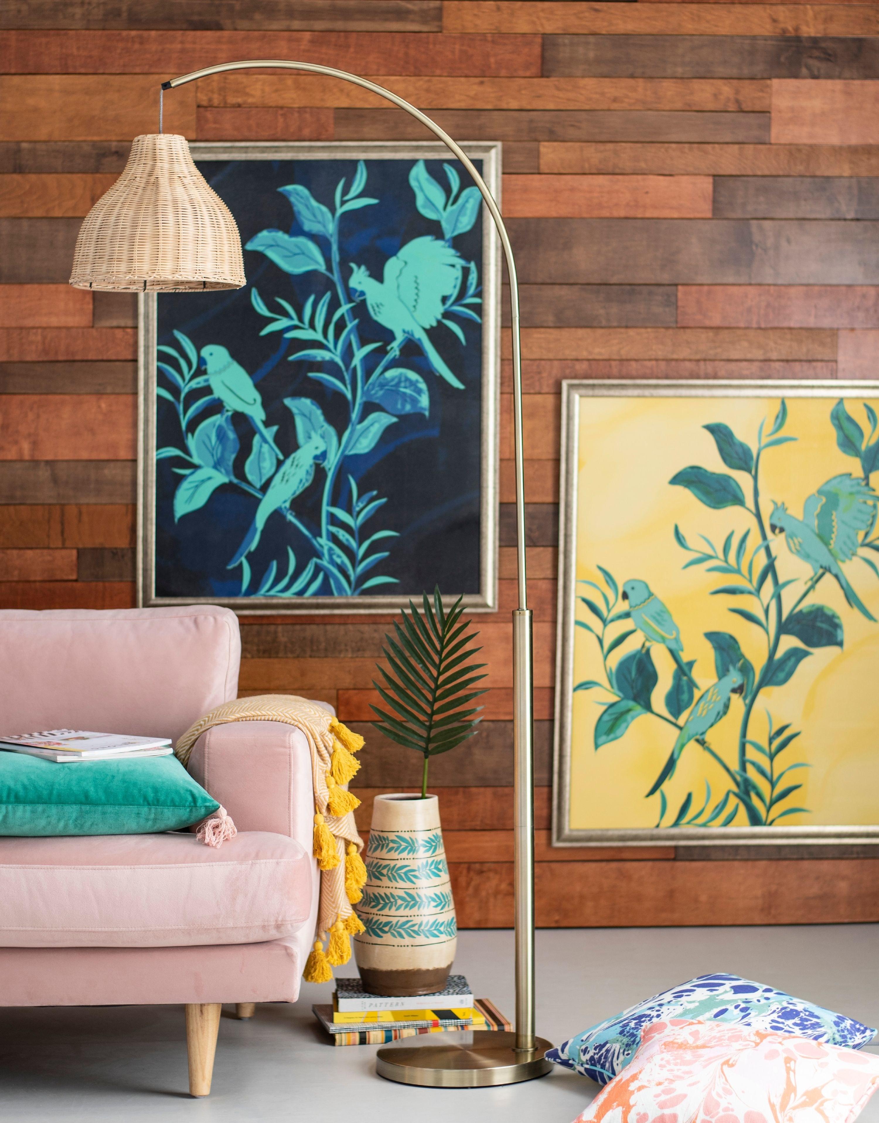 Floor lamp in colorful living room