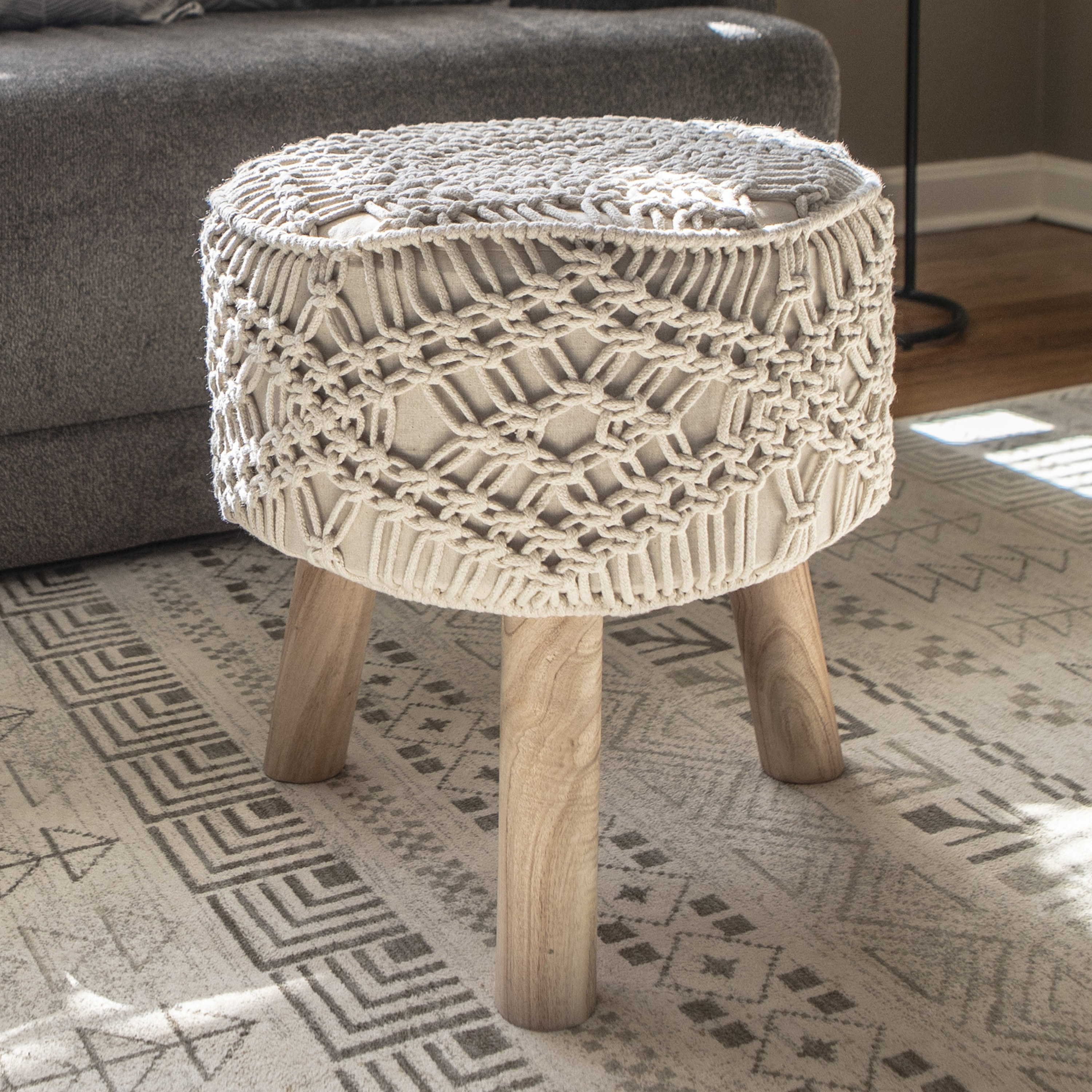 White and brown ottoman in boho living room