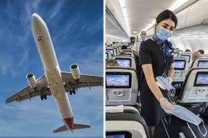 Photo of a plane flying overhead next to a photo of a flight attendant wearing and handing out face masks. (CREDIT: GETTY)