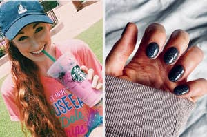to the left: a model wearing an embroidered disney hat, to the right: an at-home powder manicure