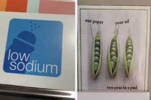 A low sodium sign that looks like a penis, and a sign of peas in a pod