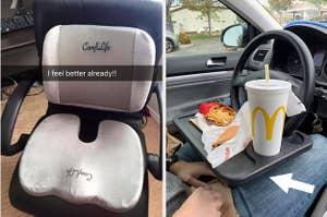 A split thumbnail of a cushion and a car tray