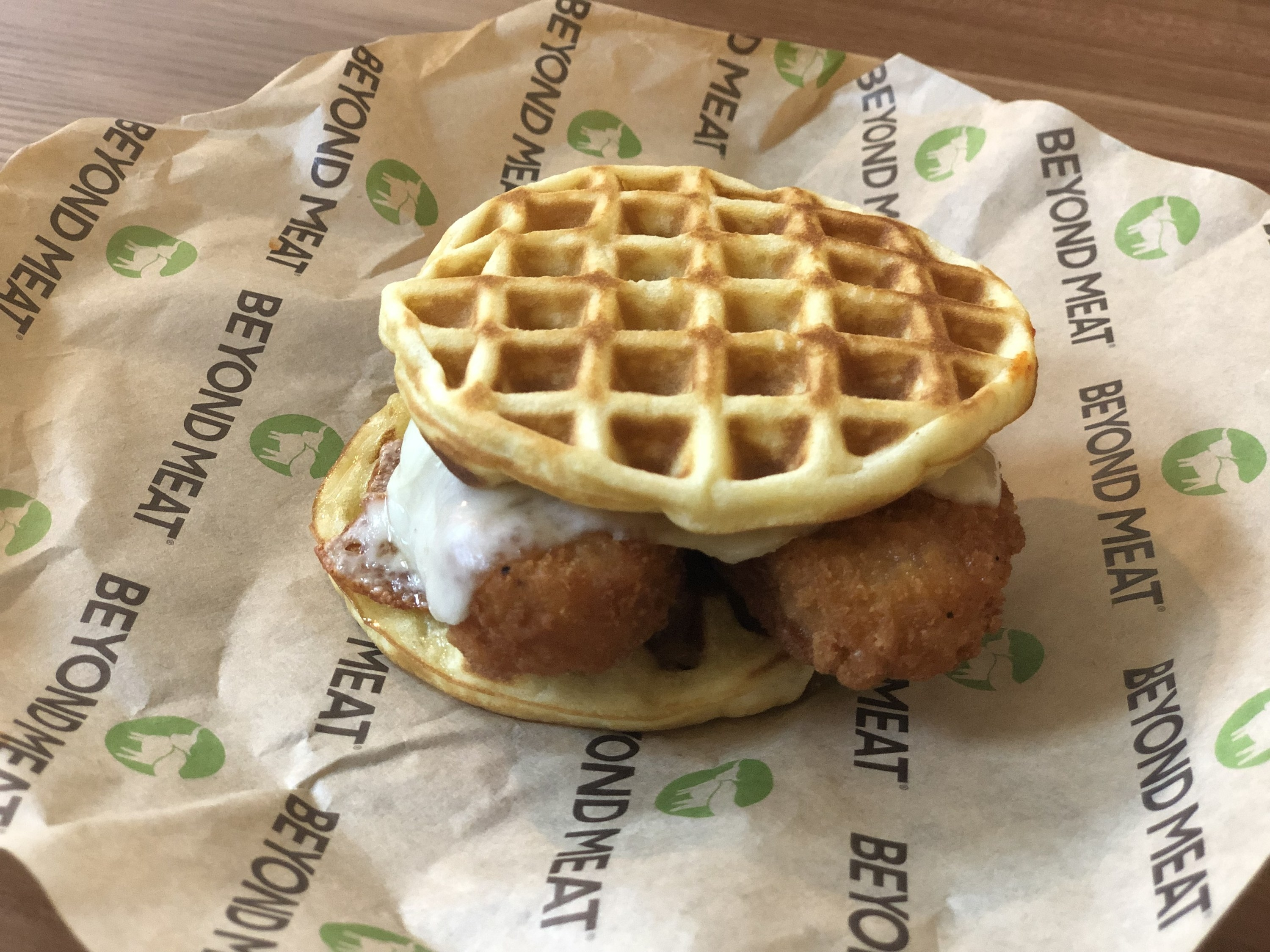 A chicken and waffle sandwich