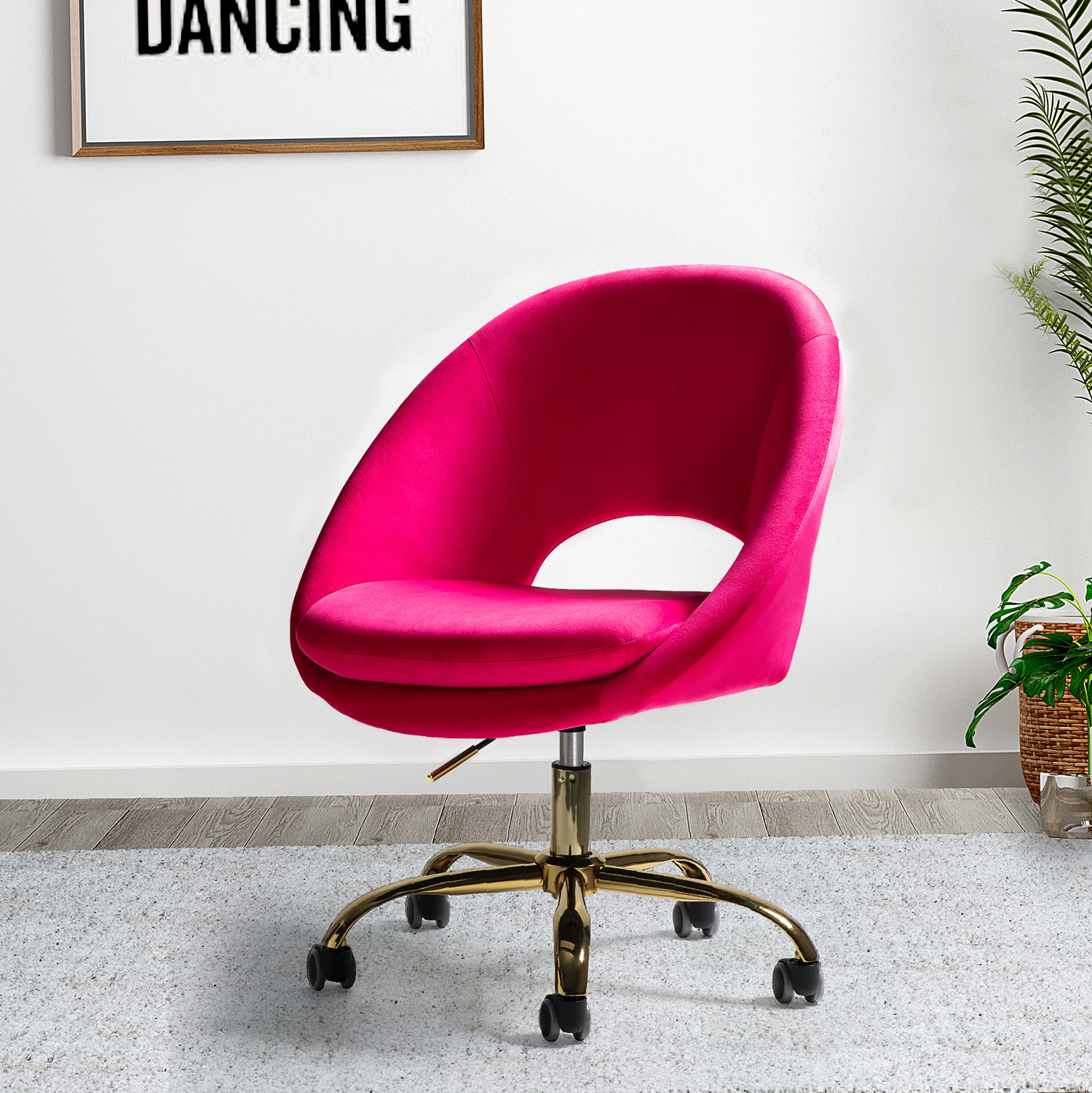 Hot pink office chair on wheels