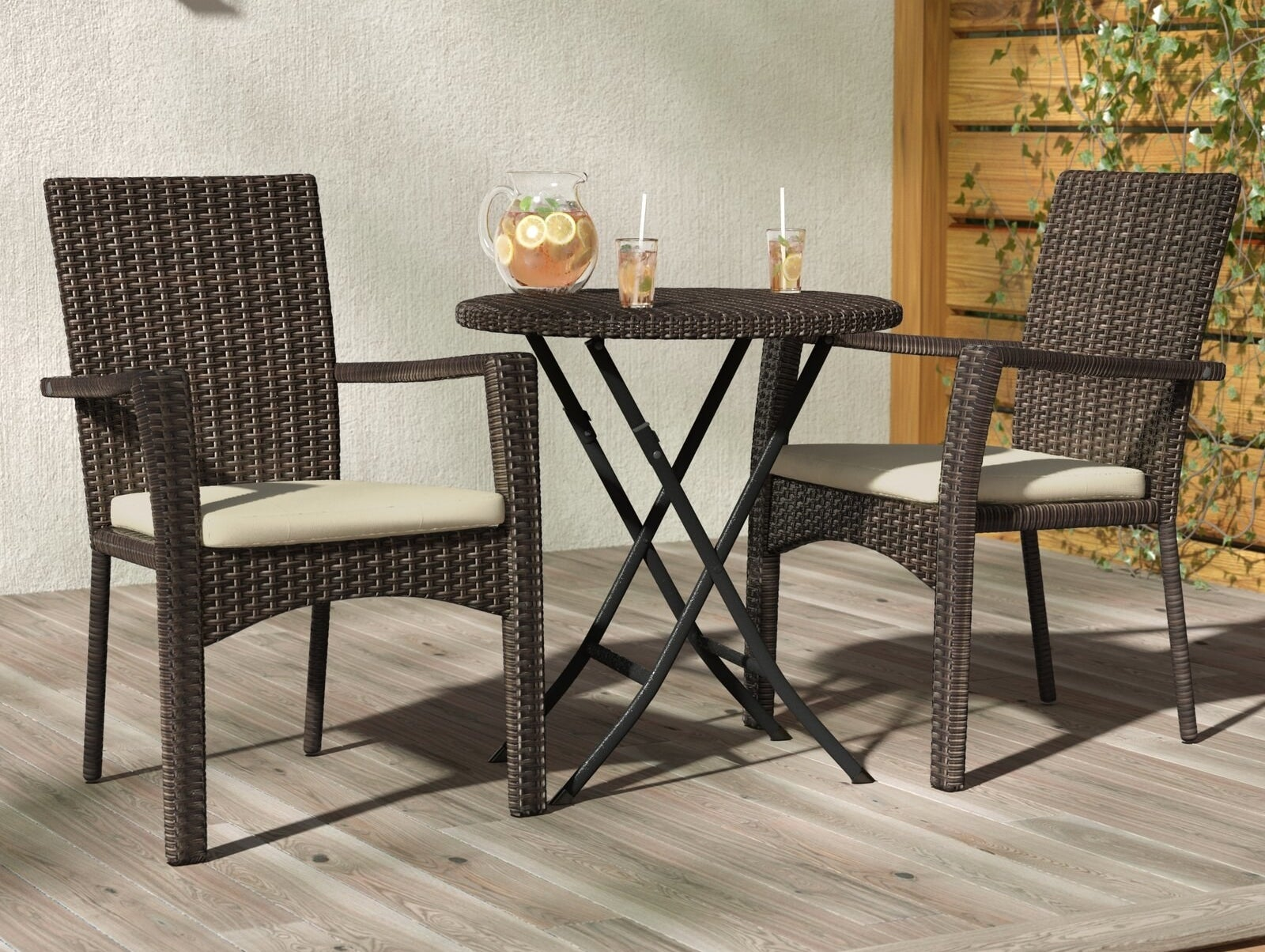 The brown wicker patio set
