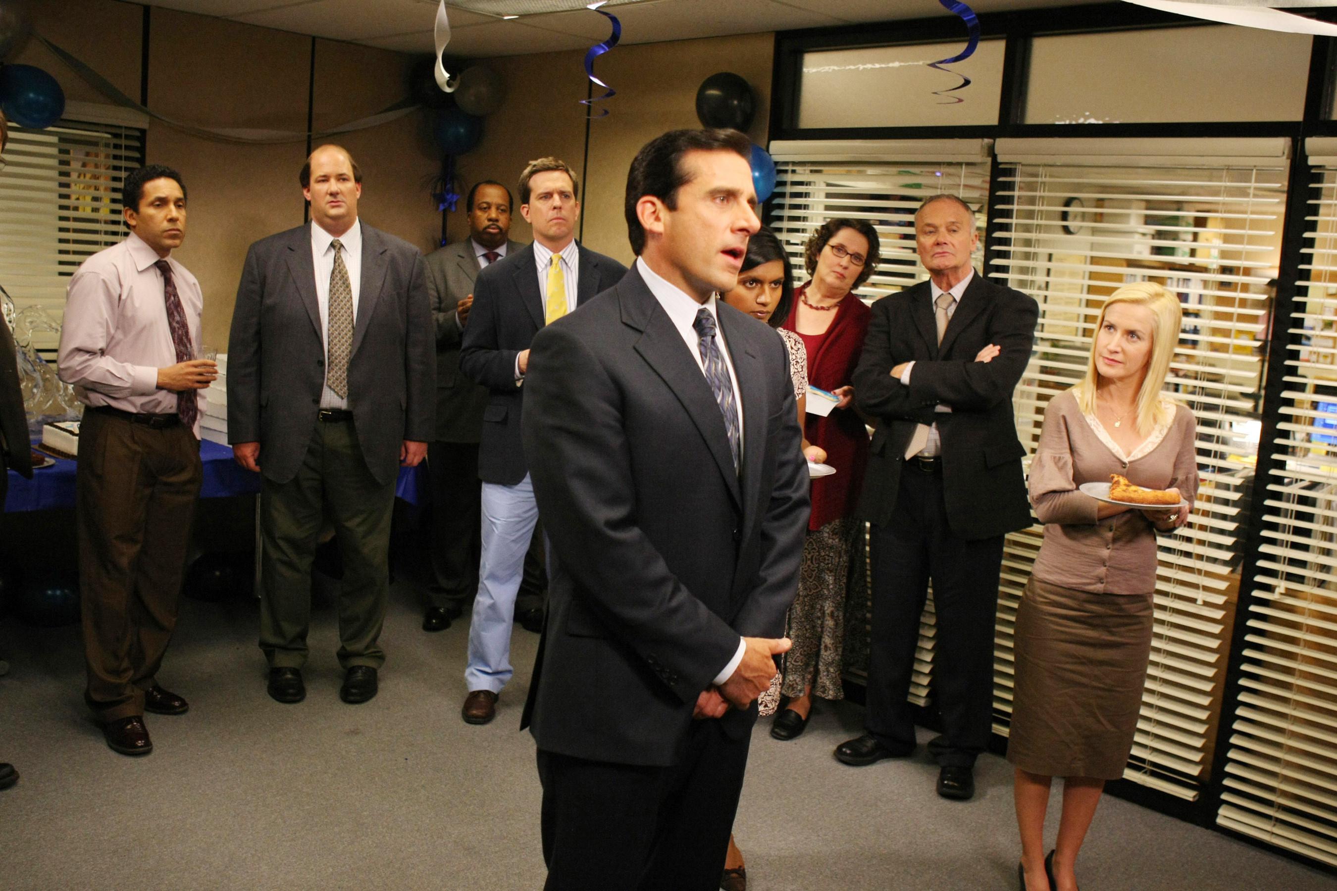 Steve Carrell gives a speech at an office party