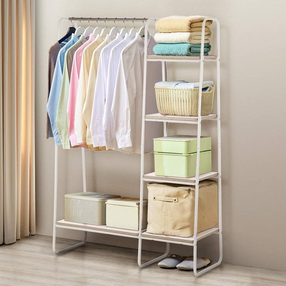Garment rack with clothes on it