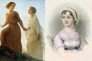 Two women climbing a hill and Jane Austen