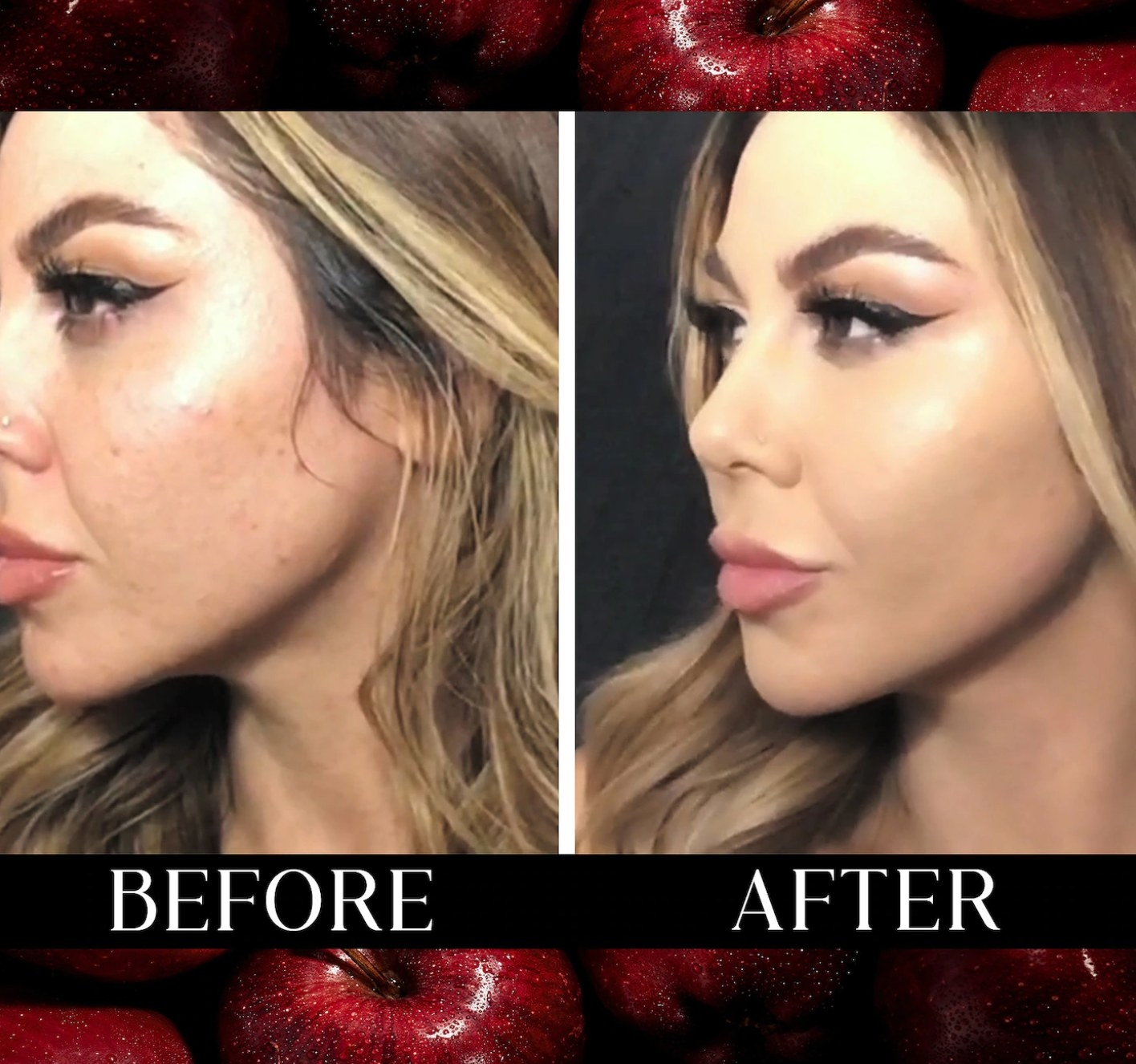 Model showing her face before and after the KVD Good Apple foundation