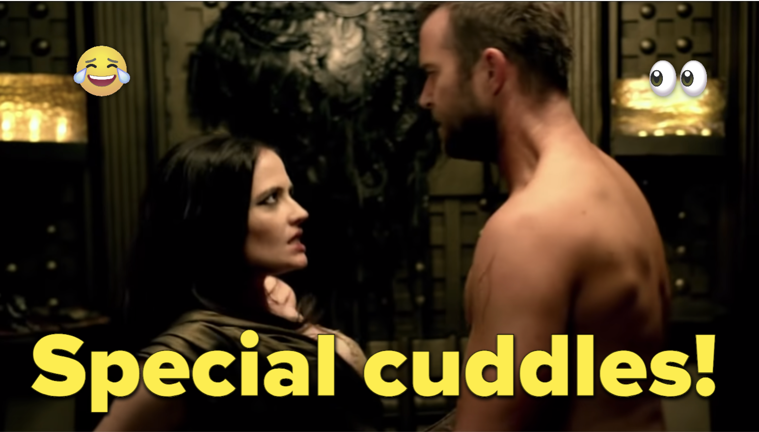 """A couple is about to have sex and the text, """"Special cuddles"""""""