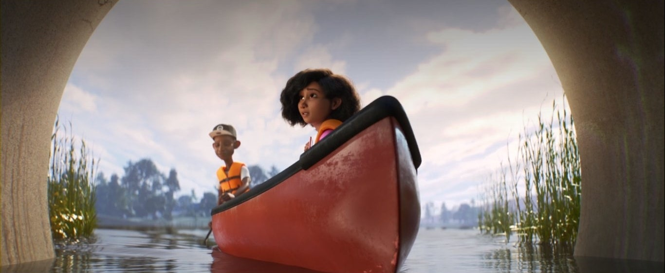 Two kids in a canoe together