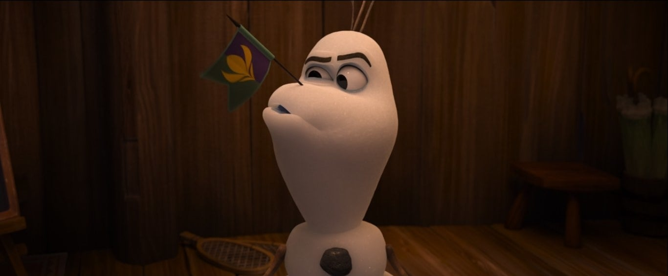 Olaf with a flag for a nose