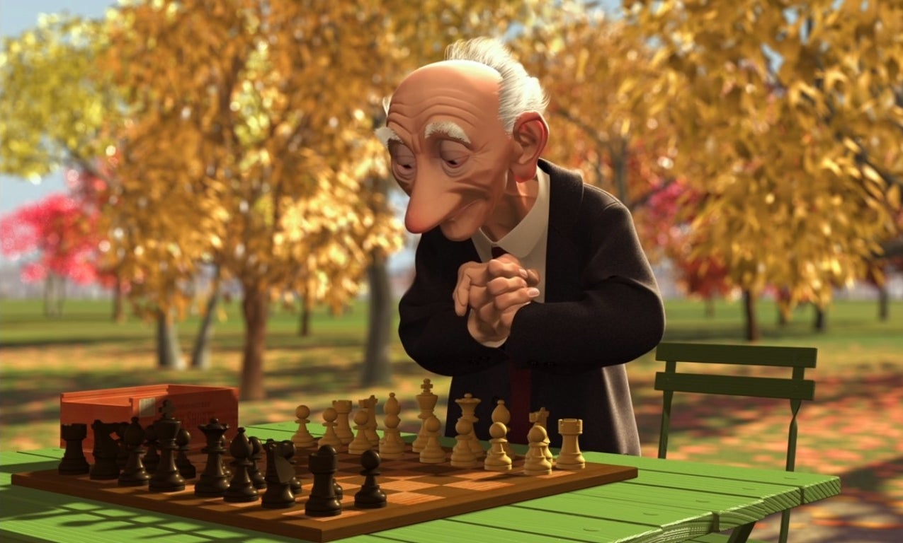 Geri plays chess against himself