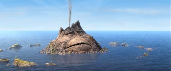 A sad volcano in the ocean