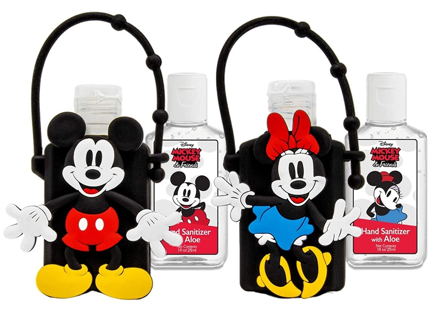 Mickey and Minnie hand sanitizers with holders
