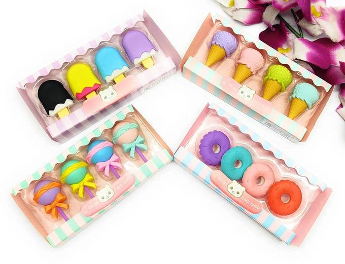 Erasers in the shape of ice cream bars, lollipops, ice cream, and donuts